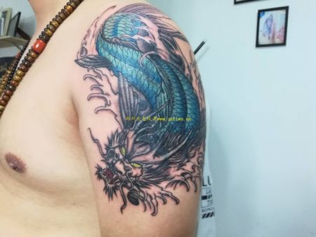 郑州纹身工作室分享黑灰纹身作品|洗纹身-郑州天龙纹身工作室