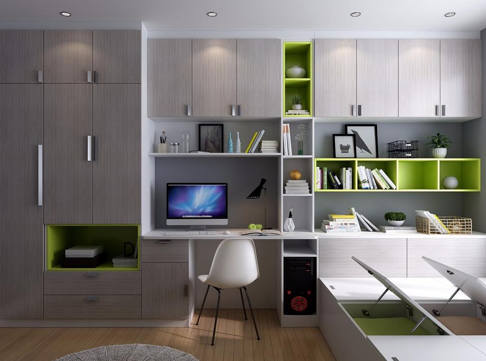 時尚多功能房設計,11㎡次臥定制榻榻米書桌柜裝修效果