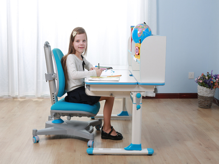 白色微晶颗粒实木板万博万博体育官网学习桌 SO-D616 蓝色
