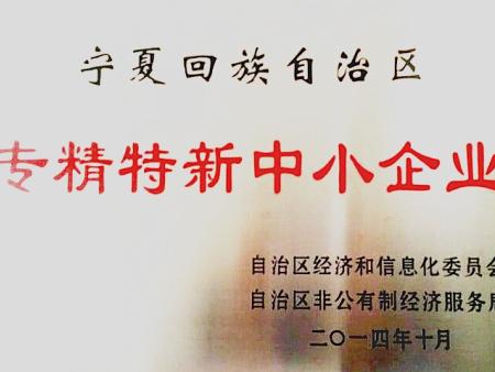 """""""宁夏回族自治区专精特新中小企业""""证书"""