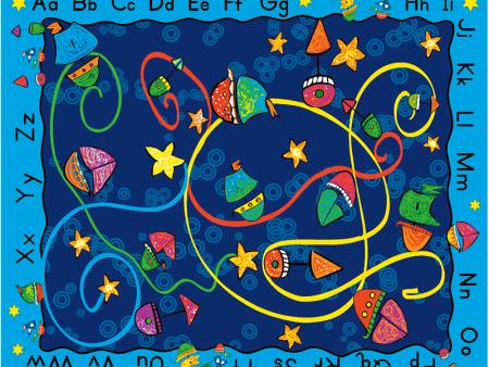 字母帆船地毯