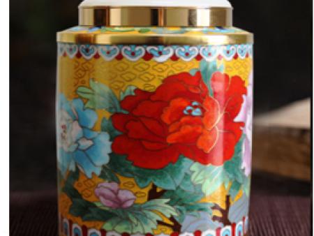 景泰蓝镶玉富贵添香茶叶罐