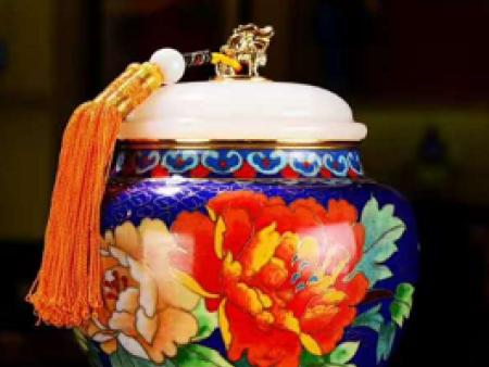 景泰蓝镶玉富贵人生茶叶罐
