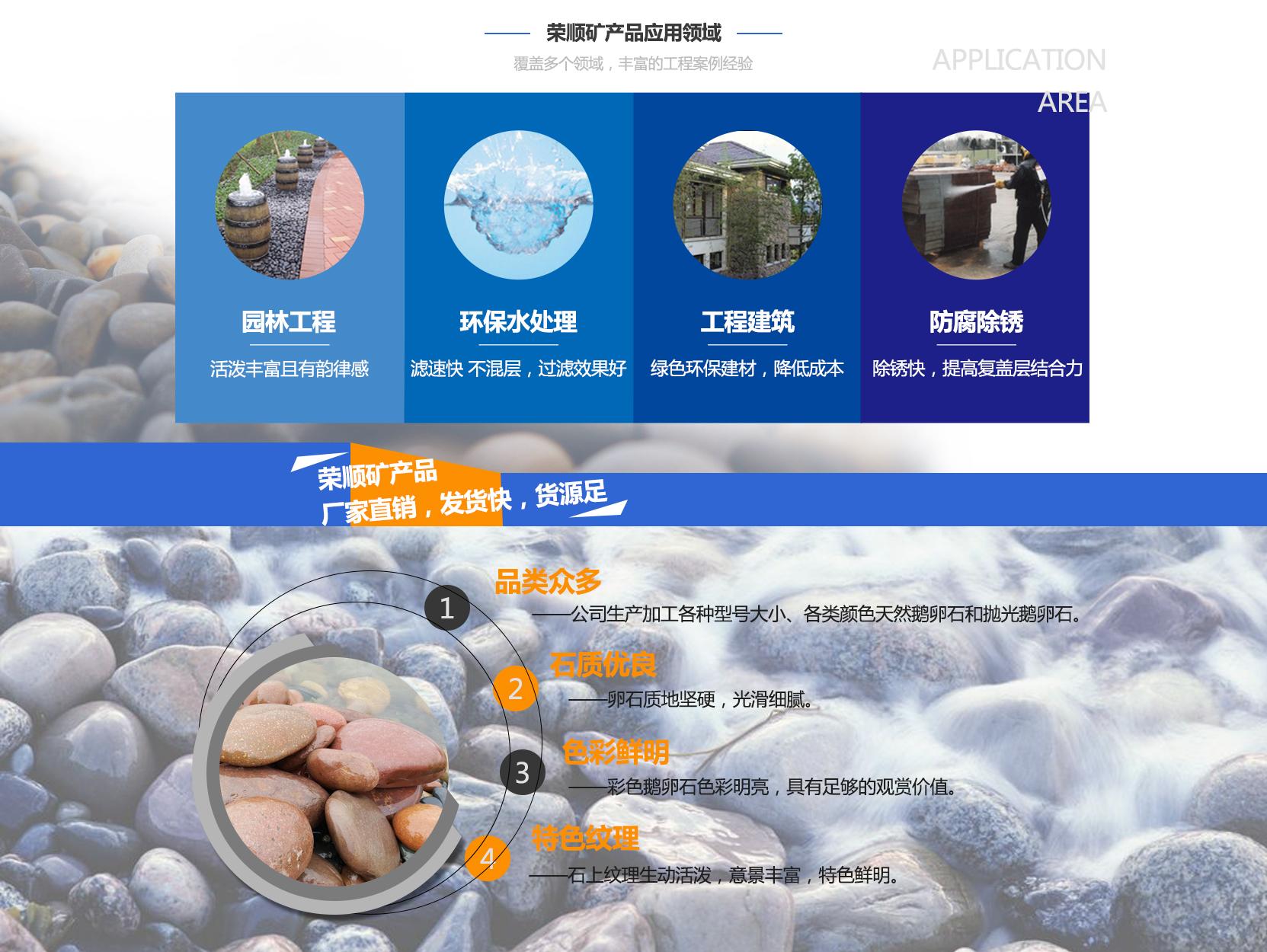 荣顺矿产品应用领域:园林工程 环保水处理 工程建筑 防腐防锈