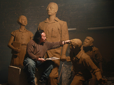 陶行知塑像分析园林雕塑设计代表意义