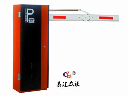 2089(橘红)折臂:停车场系统采用:蜗轮蜗杆及4连杆,1.5钢板,识别系统用于4路识别,带临时计费等功能视频流判断,无需压地感识别, 精密的防砸车设计。