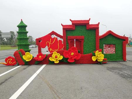 安徽阜阳高速出口仿真绿雕安装完工