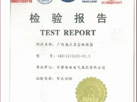戶內高壓真空斷路器檢驗報告