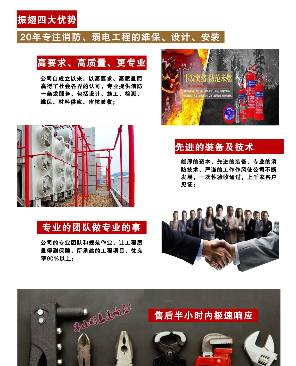 振翅消防20年专注重庆消防工程、重庆消防调试、重庆消防设计、弱电工程等服务项目。优势:1、高要求、高质量、更专业。2、先进的装备及技术。3、专业的团队做专业的事。4、售后半小时内急速响应。