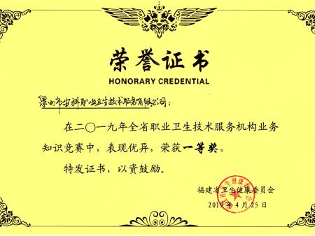 福建省职业卫生知识竞赛荣誉证书