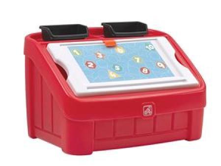 华森葳 功能家具 二合一画板储物箱(红色)