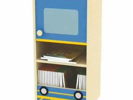 华森葳 综合图书柜 火车主题书柜-柜体02-蓝色(枫木纹)