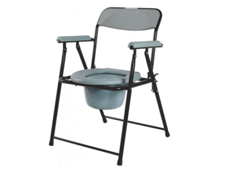 Steel Folding Commode Chair With Plastic Armrests CC75021