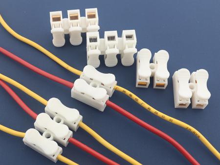 阻燃独立2位3位按压式接线端子排 LED灯电线连接器 接插件 10A端子台