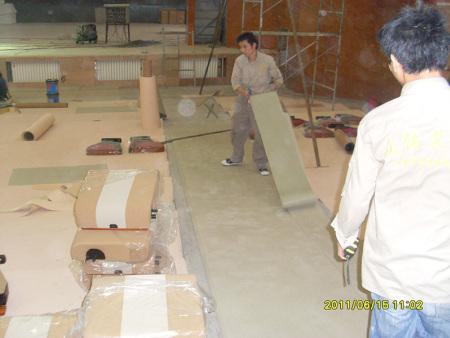 宁夏石化影院橡胶地板施工现场集锦