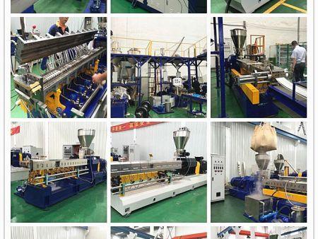 出口墨西哥-同向双螺杆风冷拉条造粒机,双螺杆挤出造粒机厂家直销,适用于:不沾水的PP塑料造粒。