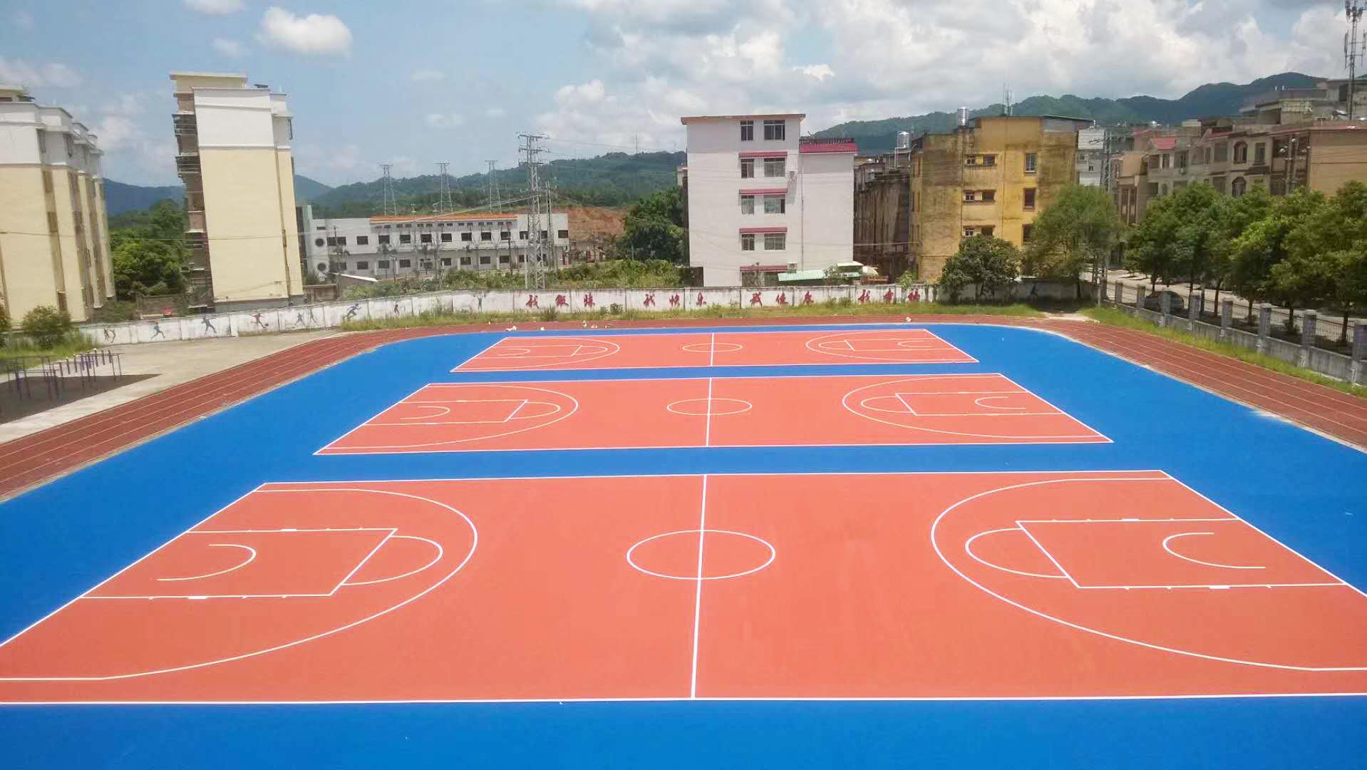 广西硅PU篮球场,硅PU篮球场画线施工一 定要掌握的场地尺寸参数