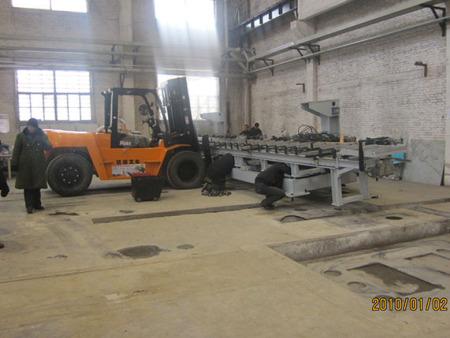解放公司縱梁沖孔機設備基礎竣工、設備水電