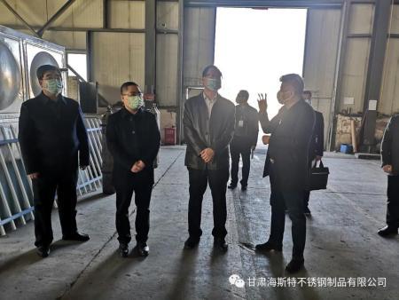 市委常委、纪委-书记、监委主任马庆、副市长邓曙光到海斯特不锈钢调研检查指导疫情防控和复工复产情况
