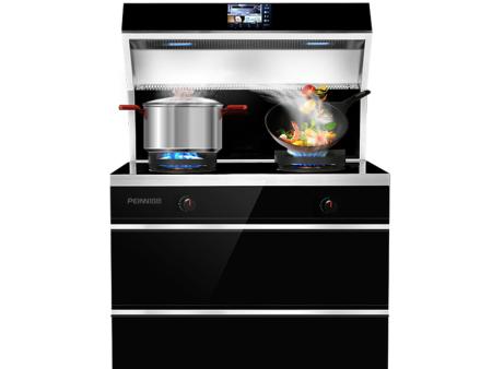 培恩PEINN集成灶一体灶JJZYT-ZJ01消毒柜集成一体灶燃气灶具自动清洗智能LED屏显 黑色 天然气(12T)