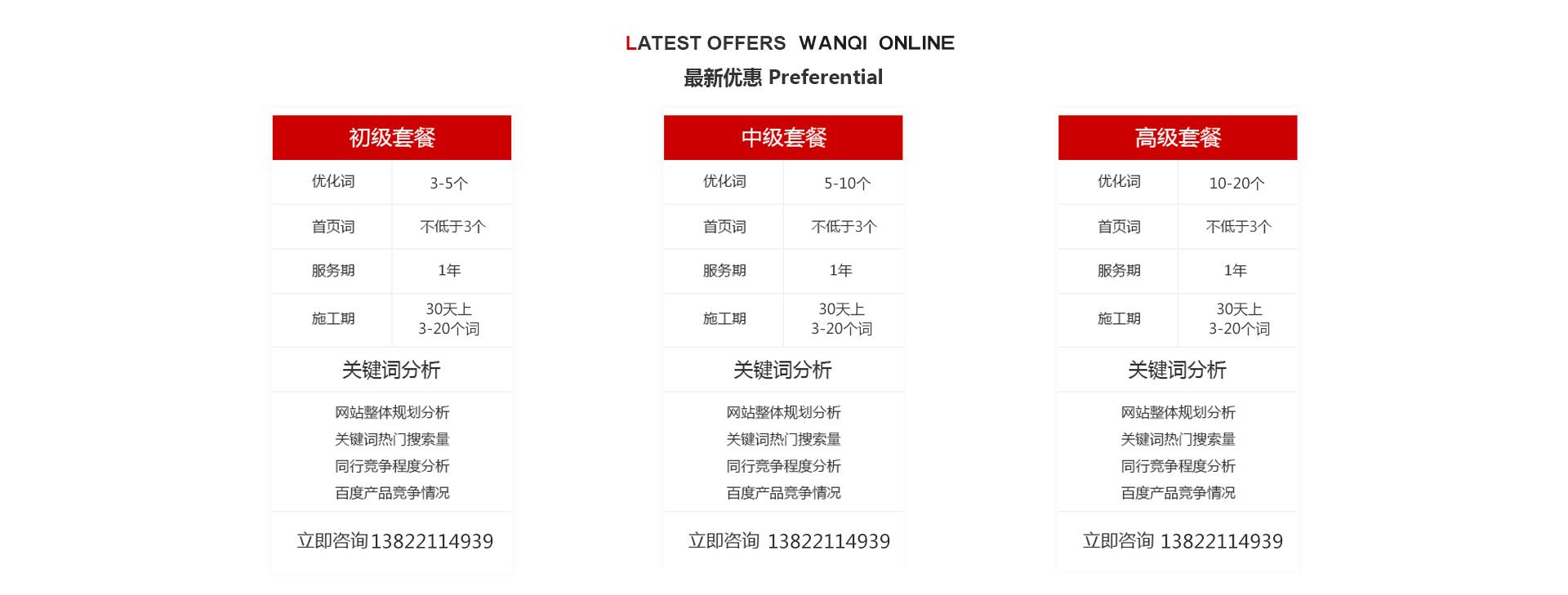关于网络推广万企在线提供最新服务套餐,保障指定优化关键词能上首页
