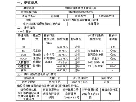 庆阳宗瑞肉类加工有限公司环境信息公示