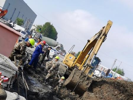 育民路四標段排水工程施工現場