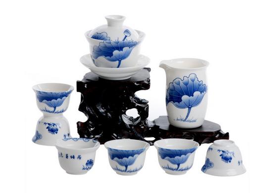 手绘青花陶瓷茶具 高档手绘青花瓷茶具