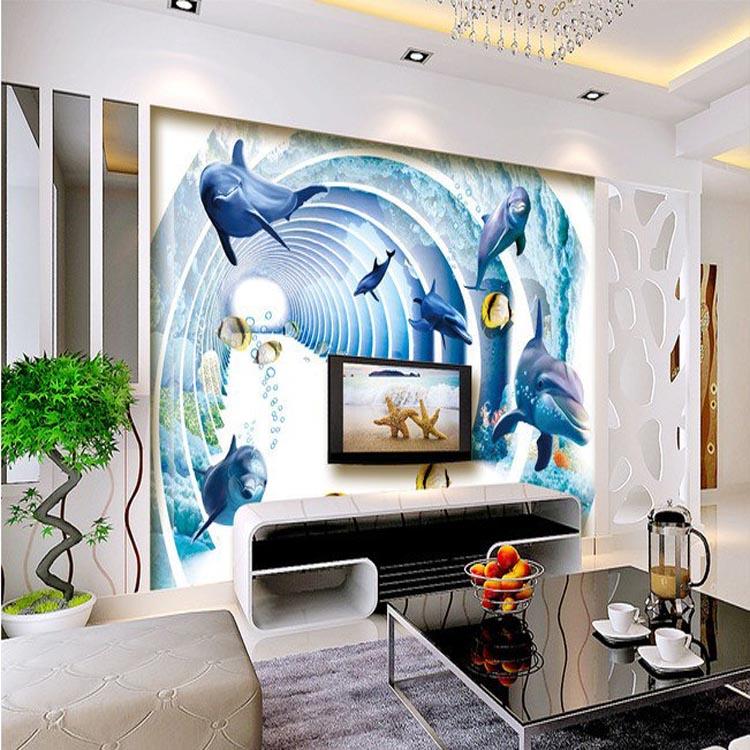 主题酒店墙纸壁画 餐厅背景墙海景墙布 无缝无纺布壁画厂家