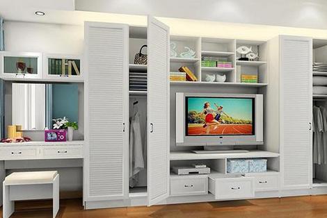 小户型生态板衣柜设计案例:衣柜内嵌电视柜