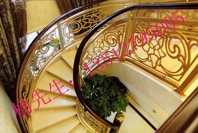 艺术雕花楼梯扶手 别墅豪华旋转铜艺镂空楼梯护栏款式