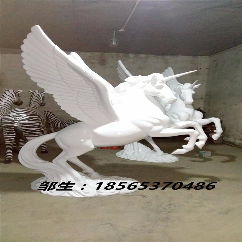 飞马雕塑_彩绘飞马雕塑摆件_玻璃钢飞马雕塑小品带翅膀白色定做