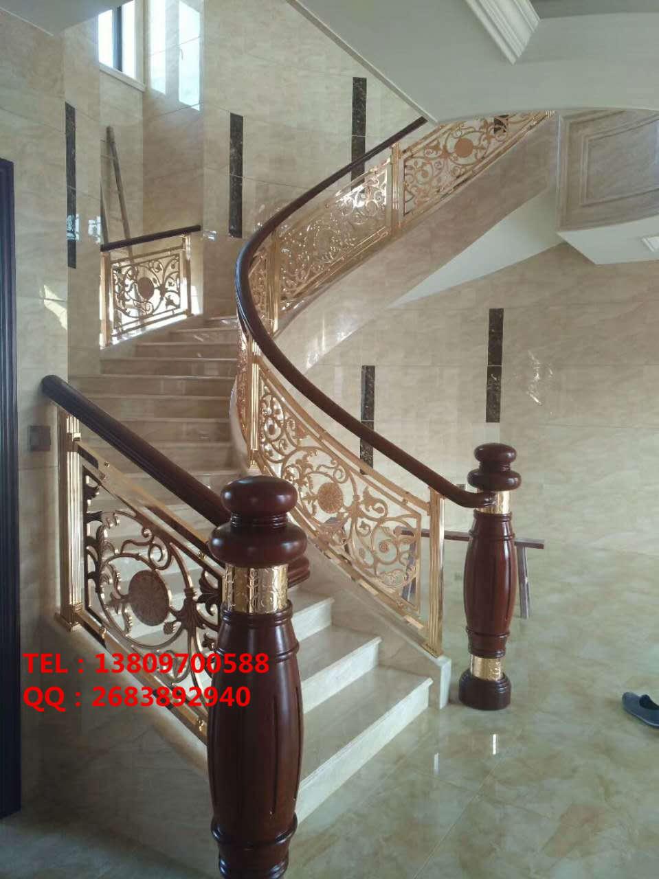 旋转楼梯欧式玫瑰金铝艺镂空雕刻楼梯护栏