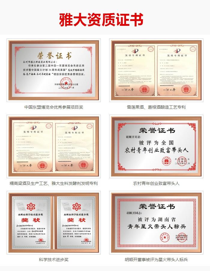 雅大酿酒设备厂荣誉证书