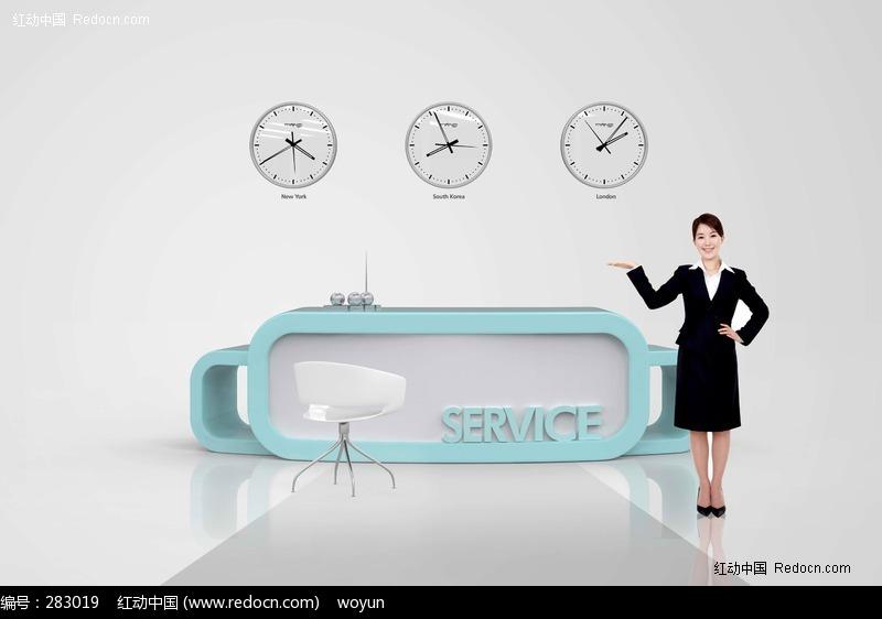 接待客服美女图片素材-商务|货币|钱币|金融 ps.jpg