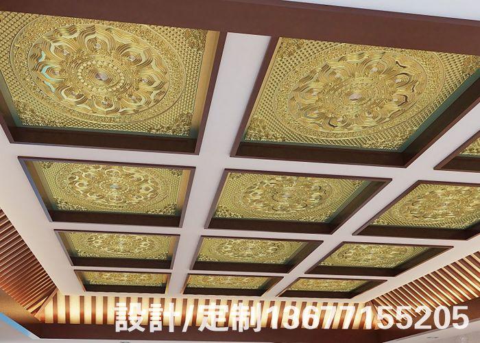 古建天花寺庙仿古彩绘天花板中式装修道教教堂佛堂吊顶彩绘吊顶