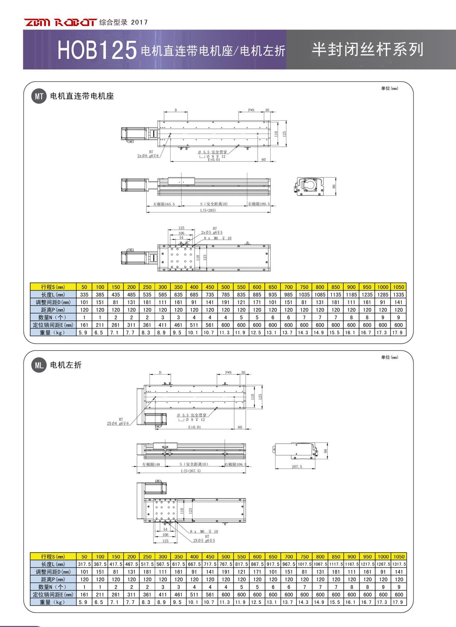 HOB125S-CM|半封闭丝杆模组-宝马娱乐在线1211app