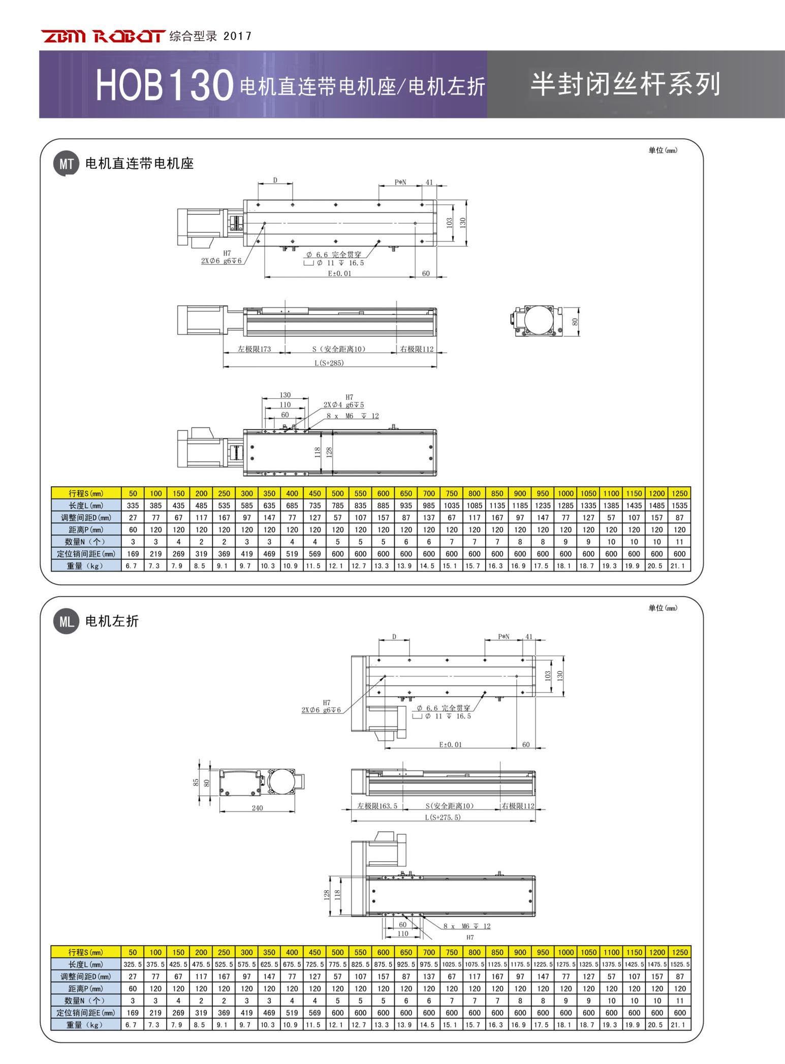 HOB130S-CM|半封闭丝杆模组-宝马娱乐在线1211app