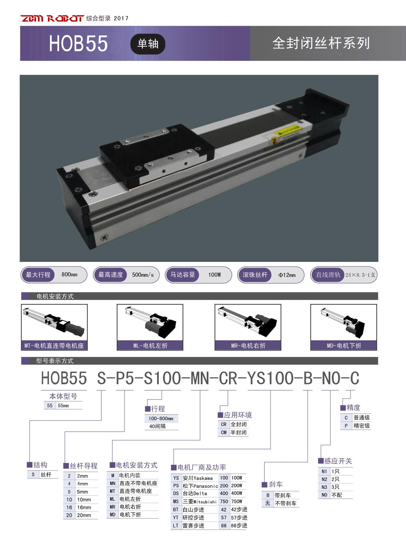 HOB55S-CR|全封闭丝杆模组-宝马娱乐在线1211app