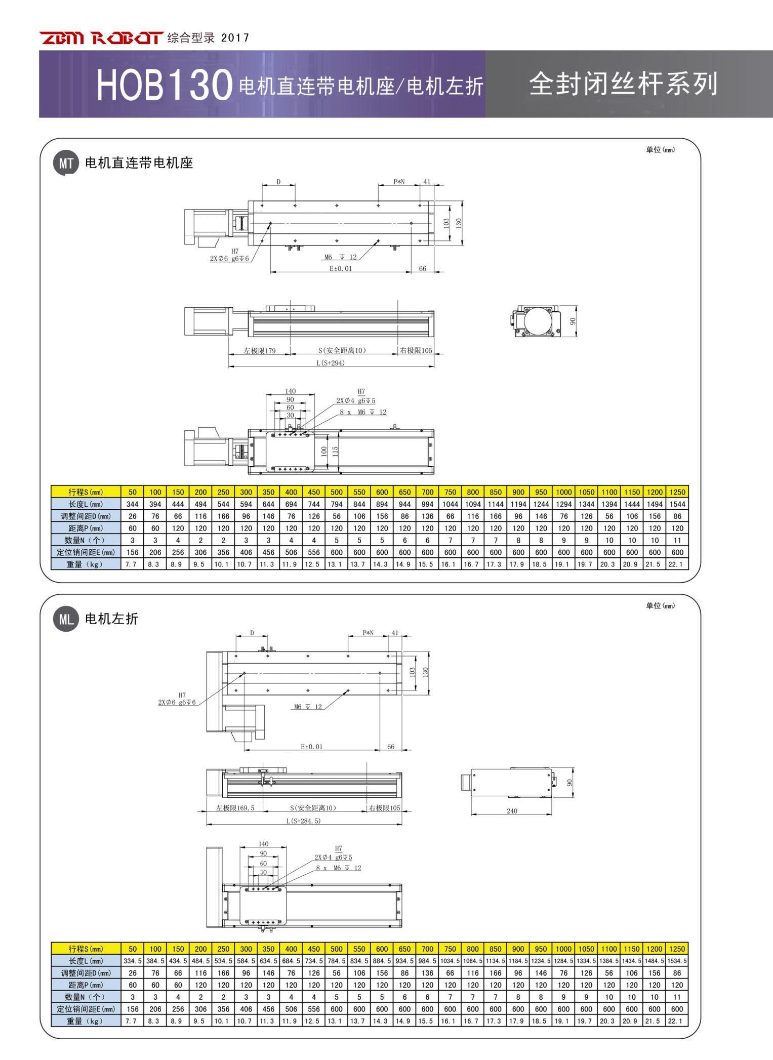 HOB130S-CR|全封闭丝杆模组-宝马娱乐在线1211app