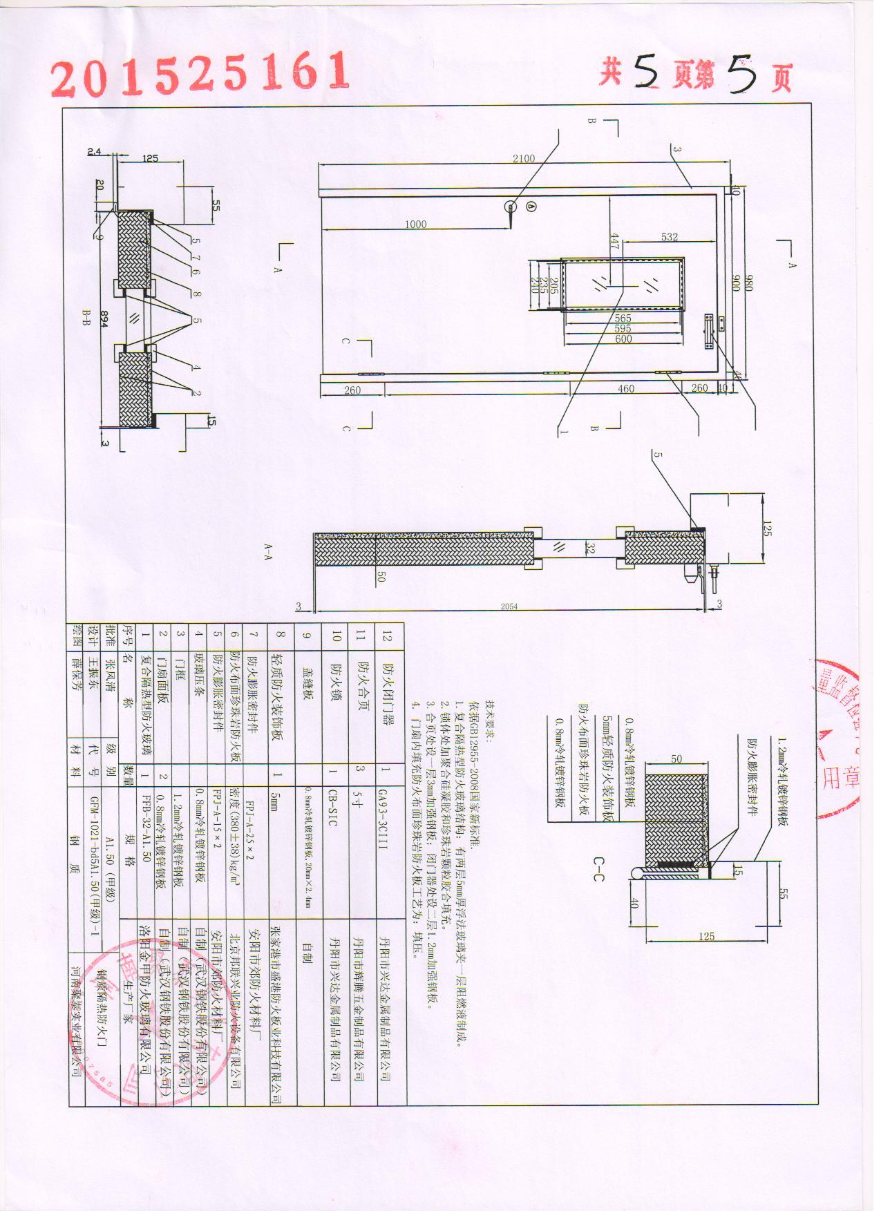 钢质防火门甲-1证书