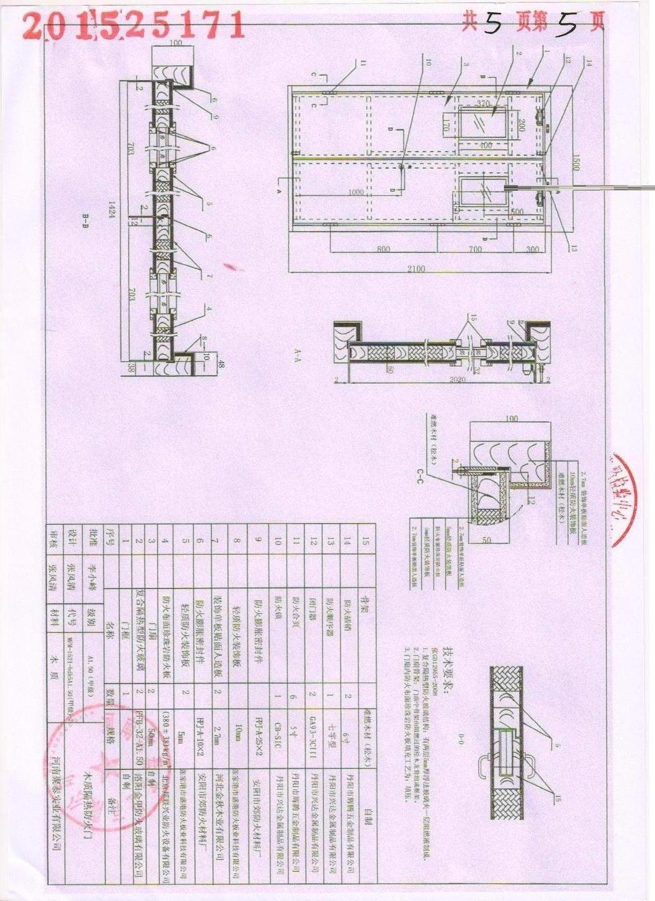 木質防火門甲-2證書
