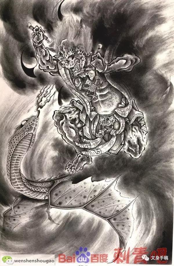 纹身小臂观音_风神雷神|手稿-郑州天龙纹身工作室