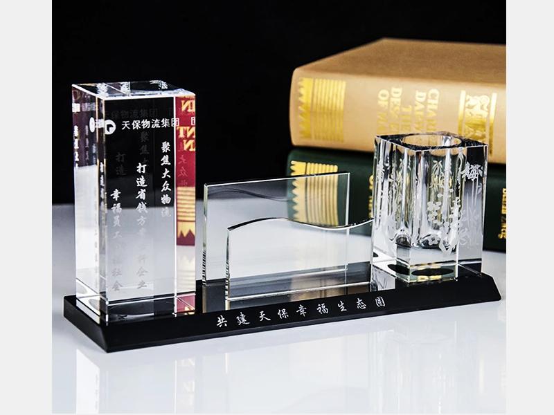 水晶收银牌 笔筒|水晶收银牌 摆件 笔筒办公用品 彩印-浦江鸿亿水晶礼品有限公司