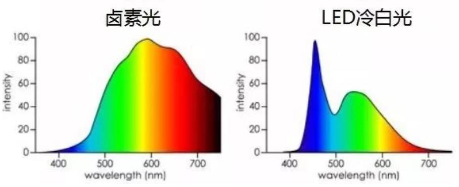 卤素光与LED冷白光光谱