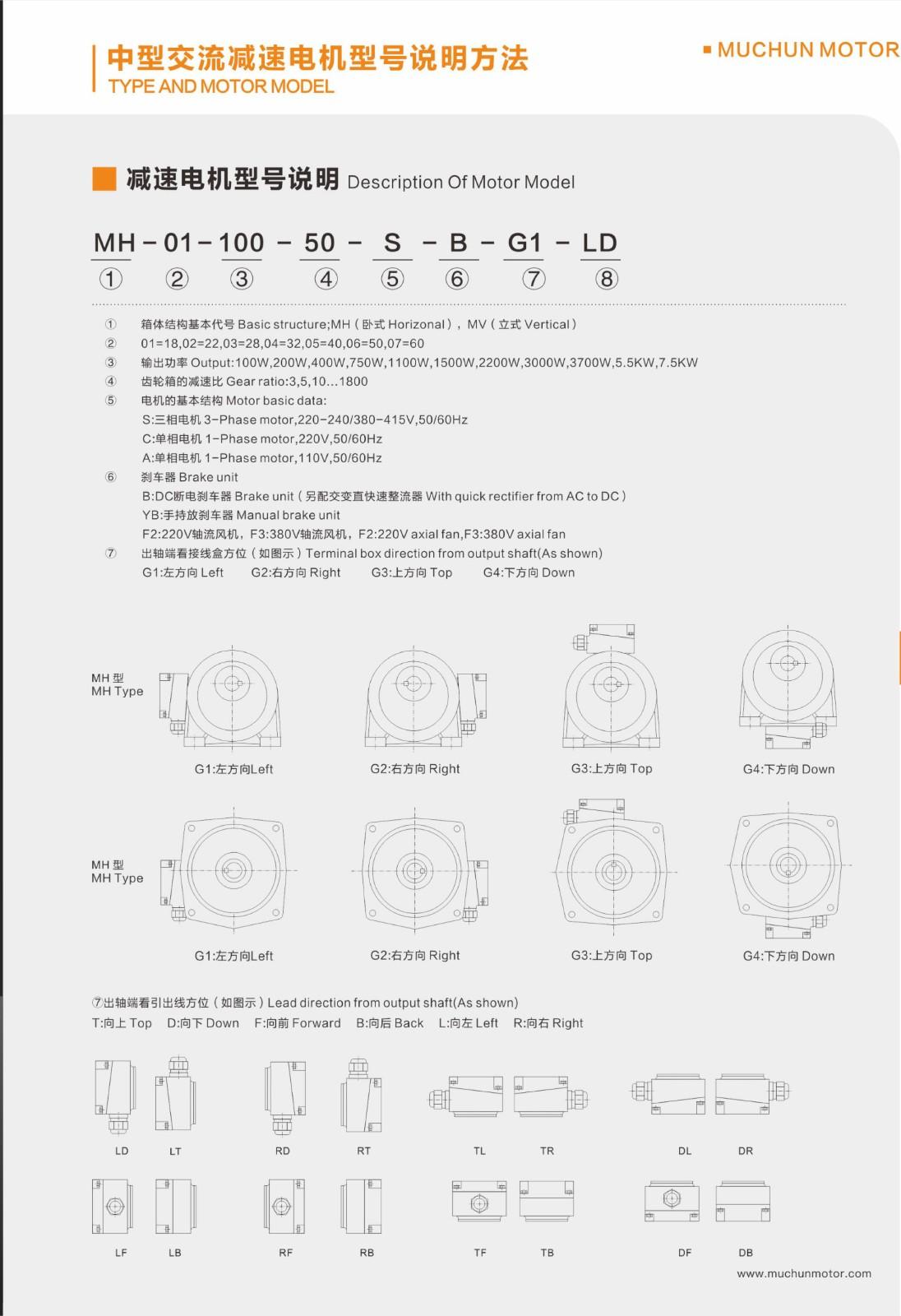 中型齒輪減速電機尺寸圖 技術資料-東莞市木春實業有限公司