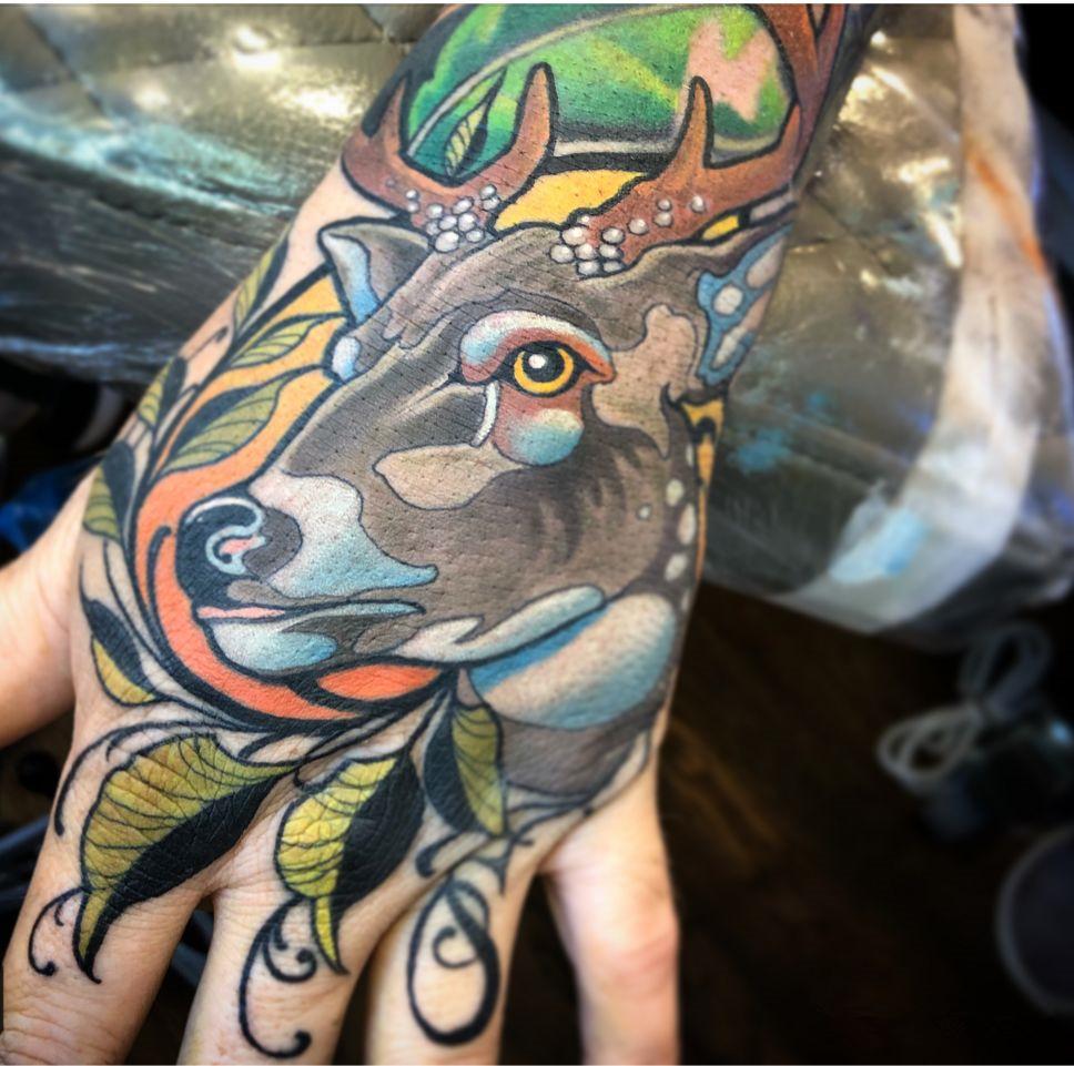 郑州天龙纹身分享:鹿手稿|洗纹身-郑州天龙纹身工作室