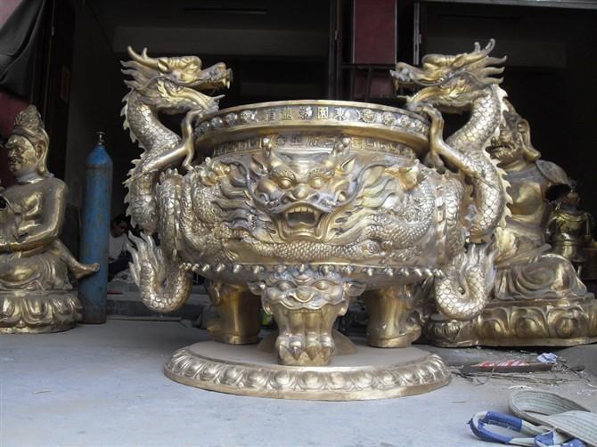 寺庙开光铜香三脚平口香炉|推荐产品-瑞安市戴氏法器有限公司