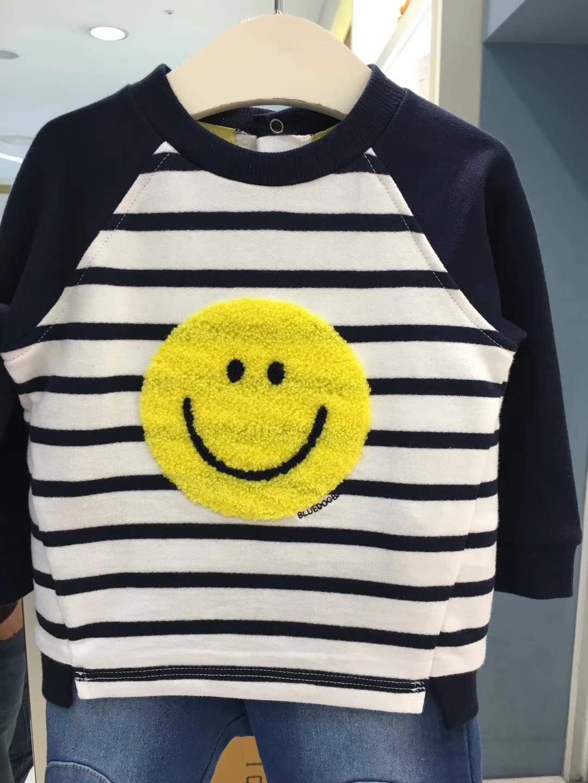 18秋冬新款--小笑脸横条上衣|烟台韩版童装-烟台泽轩服装有限公司
