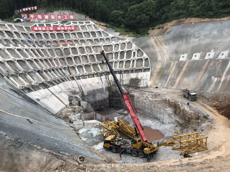 中国葛洲坝集团杭州千岛湖配水工程 TC7052塔吊施工现场|成功案例-河南福元建筑机械设备租赁有限公司
